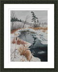 framed snowscape painting