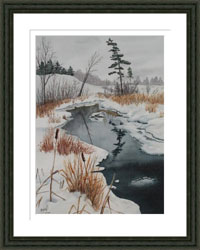 Framed picture of stream in winter