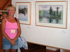 Debbie Homewood at watercolour exhibition