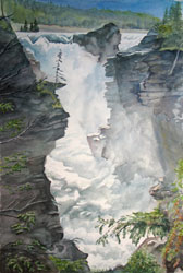 Watercolor painting Athabasca Falls