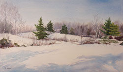 Watercolor painting Snow on the Canadian Shield