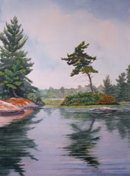 Watercolor painting Lake Reflection