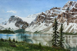 Watercolor painting Bow Lake, Alberta
