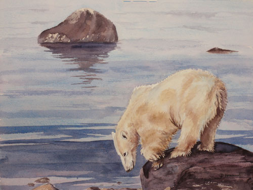 Winter snow and ice paintings by debbie homewood for Snow bear ice fishing