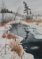 watercolour  Winter Reflection