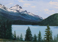 Watercolor painting Rocky Mountains